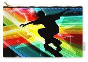 Skateboarder In Criss Cross Lightning Carry-all Pouch by Elaine Plesser