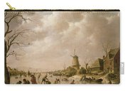 Skaters On A Frozen Canal Carry-all Pouch by Hendrik Willem Schweickardt