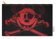 Skull And Bones Mickey In Red Carry-all Pouch