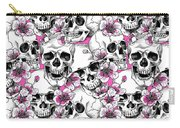 Skulls And Red Flowers Carry-all Pouch