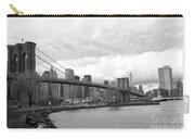Skyline Nyc Brooklyn Bridge Bw Carry-all Pouch