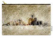 skyline of Detroit in modern and abstract vintage-look Carry-all Pouch