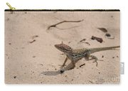 Small Brown Lizard Sitting On A White Sand Beach Carry-all Pouch