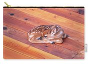 Small Deer Fawn Resting On Cedar Wood Deck Carry-all Pouch
