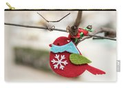 Small Red Handicraft Bird Hanging On A Wire Carry-all Pouch