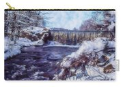 Small Stream, Snowy Scene And Waterfalls. Carry-all Pouch