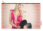 Smiling Dj Woman In Love With Retro Music Carry-all Pouch