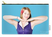 Smiling Retro Woman Showing Lipstick Makeup Carry-all Pouch
