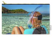 Snorkeler Relaxing On Tropical Beach Carry-all Pouch