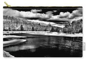 Snow At The River - Bw Carry-all Pouch