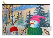 Snow Mom And Son Carry-all Pouch