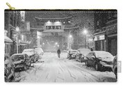 Snow Storm In Chinatown Boston Chinatown Gate Black And White Carry-all Pouch