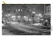 Snowfall In Harvard Square Cambridge Ma 2 Black And White Carry-all Pouch