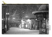 Snowfall In Harvard Square Cambridge Ma Kiosk Black And White Carry-all Pouch