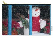 Snowman And Poinsettias - Frosty Christmas Carry-all Pouch