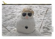 Snowman On The Beach Carry-all Pouch