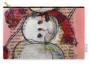 Snowman With Red Hat And Mistletoe Carry-all Pouch