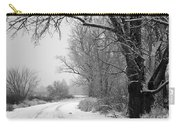 Snowy Branch Over Country Road - Black And White Carry-all Pouch by Carol Groenen