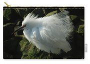 Snowy Egret Fluffy Carry-all Pouch