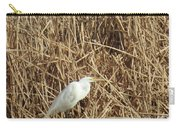 Snowy Egret In Tall Grasses Carry-all Pouch