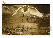 Snowy Egret Landing With Golden Tones Carry-all Pouch