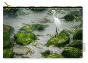 Snowy Egret On Mossy Rocks Carry-all Pouch