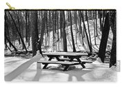 Snowy Picnic Table In Black And White Carry-all Pouch