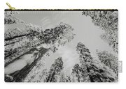 Snowy Sequoias At Calaveras Big Tree State Park Black And White 7 Carry-all Pouch