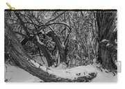 Snowy Tree Bench In Black And White Carry-all Pouch