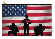 Soldiers On American Flag Carry-all Pouch