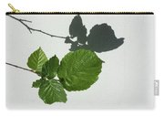 Sophisticated Shadows - Glossy Hazelnut Leaves On White Stucco - Horizontal View Left Down Carry-all Pouch