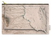 South Dakota State Usa 3d Render Topographic Map Neutral Border Carry-all Pouch