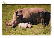 Southern White Rhino With A Little One Carry-all Pouch