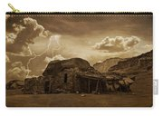 Southwest Navajo Rock House And Lightning  Carry-all Pouch