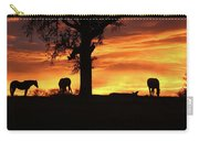 Southwestern Sunrise Color, Silhouetted Oak Tree And Three Horses Carry-all Pouch