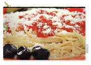 Spaghetti With Tomatoes And Olives Food Background Carry-all Pouch