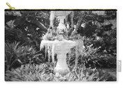 Spanish Moss Fountain With Bromeliads - Black And White Carry-all Pouch