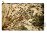 Sparrow In Winter Iv - Textured Carry-all Pouch by Angie Tirado