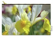 Spring Irises Flowers Art Prints Canvas Yellow White Iris Flowers Carry-all Pouch