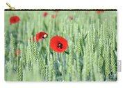 Spring Scene Green Wheat And Poppy Flowers Carry-all Pouch