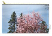 Spring Trees Bossoming Landscape Art Prints Pink Blossoms Clouds Sky  Carry-all Pouch