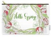 Spring  Wreath With Pink White Tulips Carry-all Pouch