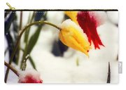 Springtime Tulips In The Snow Poster Print Carry-all Pouch