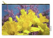 Springtime Yellow Daffodils Art Print Pink Blossoms Blue Sky Baslee Troutman Carry-all Pouch