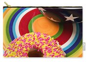 Sprinkled Donut On Circle Plate With Bowl Carry-all Pouch