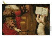 St. Cecilia With An Angel Holding A Musical Score Carry-all Pouch by Domenichino