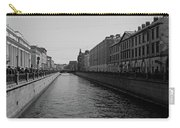St Petersburg Waterway - Black And White Carry-all Pouch