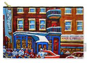 St Viateur Bagel With Hockey Montreal Winter Street Scene Carry-all Pouch by Carole Spandau