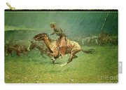Stampede By Lightning, Digitally Enhanced, Frederic Remington Carry-all Pouch