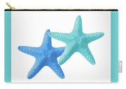 Starfish Blue And Turquoise On White Carry-all Pouch